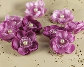 Prima Bristo Blooms -  553074 Violet Lilac Mini Petite  Fabric Flowers with pearl center. Heat Edged Fabric flowers.
