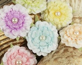 Ameruse Pastel Perle soft flowers mix velvet materials with pearl centers.