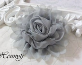 "New: Gladys Collections - Light Grey 5"" chiffon Rolled Rose Large flower with layers Bridal Favor Hair Applique Brooch headband"