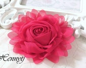 """New: Gladys Collections - Shocking Pink 5"""" chiffon Rolled Rose Large flower with layers Bridal Favor Hair Applique Brooch headband"""