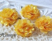 4 pcs - New Tiny Size Petite Satin and Tulle Puff Mesh Flowers without hair clip wedding bridal bridesmaid brooch flowers - Bright YELLOW