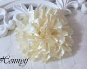 Maureen Collections - 2 pcs CREAM Champagne Satin Eyelet Fabric Rosette Puff Flower Applique Brooch headband