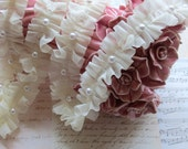 3 yards Ivory Cream Chiffon Fabric Embroidery Lace Trim  with Pearl beads bridal wedding bridesmaid headband skirt dress