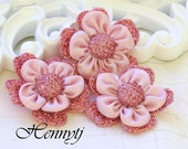 Limited Quantities: 3pc Padded Fabric Flowers with fabric brad on the center. Flower Appliques, Hair Accessories.