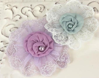 Prima Flowers: Poetic Whispers Elise - Shabby Chic Lace chiffon Fabric Flowers Purple and Blue