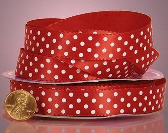 5 yards of single-sided Red/White polka dots satin ribbon 5/8 inch
