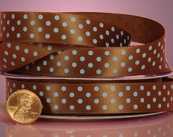 5 yards of single-sided Brown/Turquoise polka dots satin ribbon 5/8 inch