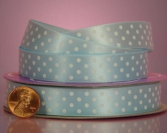 5 yards of single-sided Light Blue/White polka dots satin ribbon 5/8 inch