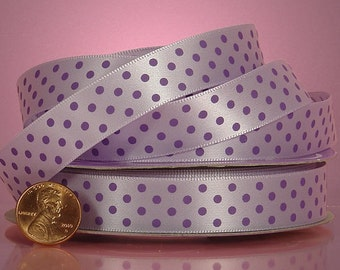 5 yards of single-sided Lavender/Purple polka dots satin ribbon 5/8 inch