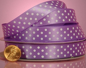 5 yards of single-sided Orchid/White polka dots satin ribbon 5/8 inch