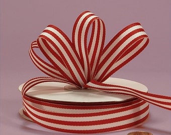 4 yards of Red Striped Grosgrain Fabric Ribbons 5/8 inch