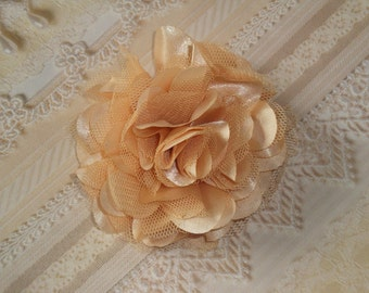 2 pcs- 3'' Satin mesh silk flowers without hair clip wedding bridal bridesmaid brooch flowers - Golden Nude