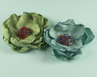 Elle Collection- Green sage and  Blue Heated Edge fabric flowers with beads in the center