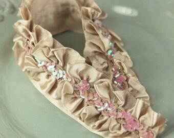 Tan - Lovely Lace ruffled satin trim with sequins center  bridal wedding bridesmaid headban skirt dress fabric velvet album scrapbook