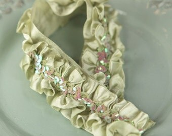 New: Melon Soft Green - Lovely Lace ruffled satin trim with sequins center  bridal wedding bridesmaid  scrapbook