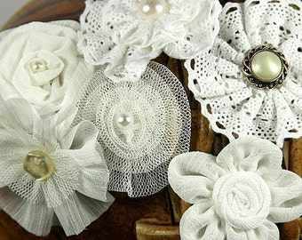 Prima Flowers: 3 SETS of Madrigal Blossom-WHITE  Silk / Chiffon / Tulle / Cotton Lace Fabric Flowers with pearl center