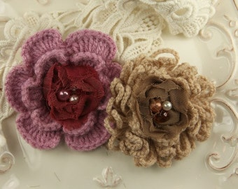 The Knittie Collections - Powder Puff Crochet Flowers maroon Wine and toffee Brown