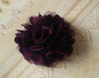 2 pcs 3'' Satin mesh silk flowers without hair clip wedding bridal bridesmaid brooch flowers - Dark Purple