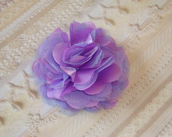 2 pcs - 3'' Satin mesh silk flowers without hair clip wedding bridal bridesmaid brooch flowers - Violet