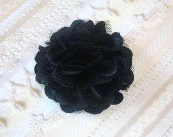 2 pcs- 3'' Satin mesh silk flowers with hair clip wedding bridal bridesmaid brooch flowers - Black