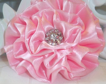 """Giselle Collections - Pink 2.5"""" Satin Flower with Rhinestone Center Wedding Bridal  Favor Hair Accessory Applique Brooch headband"""