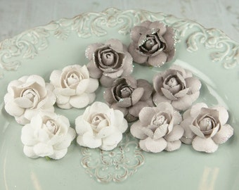Fairy Grey White  - Angelica Rose Collection Paper Flowers for scrapbooking cardmaking album embellishments. Grey Rose Bud.