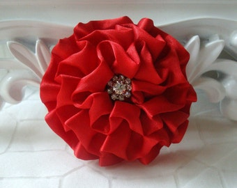 """Giselle - Red 2.5"""" Satin Rossette Flower with Rhinestone Center Wedding Bridal Favor Hair Accessory Applique Brooch"""