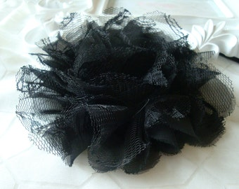 """3 pieces (4"""" inch) Large Shabby Chic Frayed Chiffon Mesh and Lace Rose Fabric Flower - Black"""