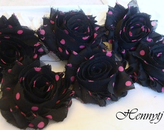 Set of 6 Shabby Frayed Vintage look Chiffon Rosette Flowers - Black with Pink Polka Dots