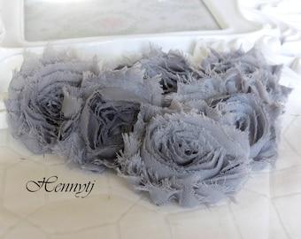 Set of 6 Shabby Frayed Vintage look Chiffon Rosette Flowers - Grey Storm