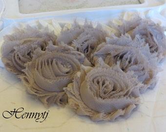 Set of 6 Shabby Frayed Vintage look Chiffon Rosette Flowers - Taupe