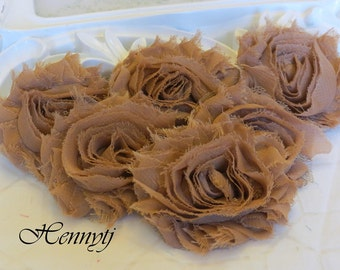 Set of 6 Shabby Frayed Vintage look Chiffon Rosette Flowers - Coffee Mocha. Shabby Chic Flowers.