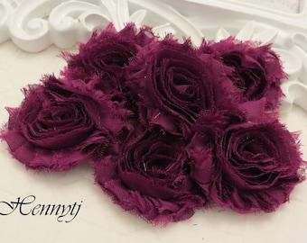 Set of 6 Shabby Frayed Vintage look Chiffon Rosette Flowers - Deep Fuchsia