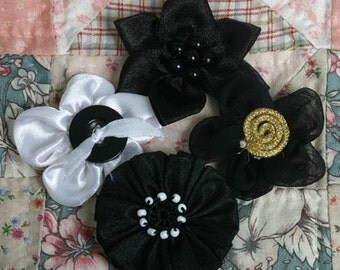 SALE CLEARANCE 30% Off : Flora Embellishment Black satin sheer applique fabric flowers mixed blooms for scrapbooking headbands