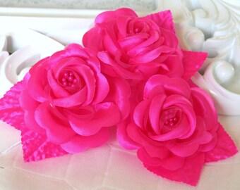 3 pcs Shocking Pink Satin Millinery Roses