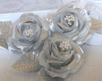 3 pcs Silver Satin Millinery Roses