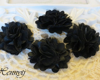 4 pcs - New Tiny Size Petite Satin and Tulle Puff Mesh Flowers without hair clip wedding bridal bridesmaid brooch flowers - Black