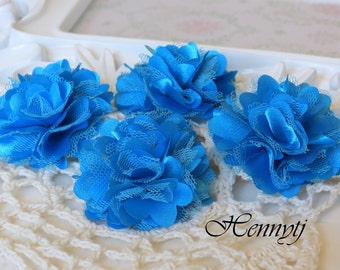 4 pcs - New Tiny Size Petite Satin and Tulle Puff Mesh Flowers without hair clip wedding bridal bridesmaid brooch flowers - Turquoise