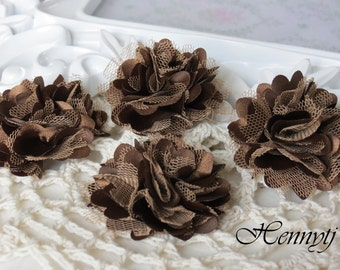 4 pcs - New Tiny Size Petite Satin and Tulle Puff Mesh Flowers without hair clip wedding bridal bridesmaid brooch flowers - Brown