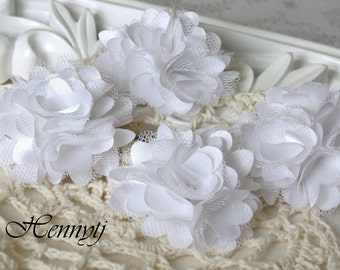4 pcs - Petite Satin and Tulle Puff Mesh Flowers without hair clip wedding bridal bridesmaid brooch flowers - White