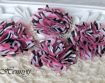 4 pcs - Petite Satin and Tulle Puff Mesh Flowers without hair clip wedding bridal bridesmaid brooch flowers - Pink Zebra