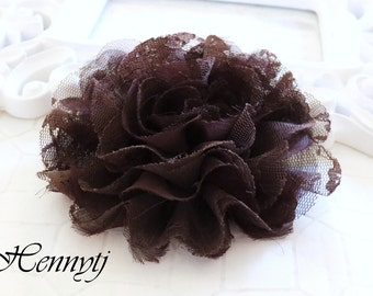 1 pc Large Shabby Chic Frayed Chiffon Mesh and Lace Rose Fabric Flower - Dark Brown