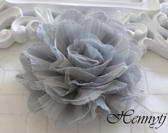 1 pc New Large Shabby Chic Frayed Wrinkled Cotton Voile and Tulle Rose Fabric Flower - Light Grey