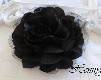 1 pc New Large Shabby Chic Frayed Wrinkled Cotton Voile and Tulle Rose Fabric Flower - Black