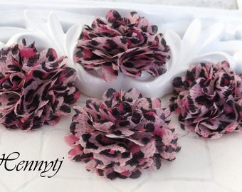 4 pcs - New Tiny Size Petite Leopard Chiffon Puff Mesh Flowers without hair clip wedding bridal bridesmaid brooch flowers - Pink