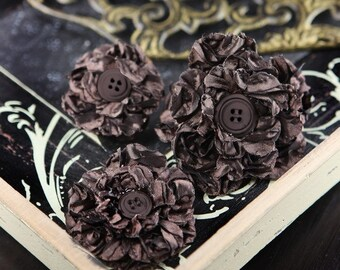 SALE CLEARANCE 30% off : Prima Button Blossom Dark Alder Chocolate brown fabric flowers