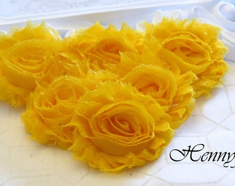 Set of 6 Shabby Frayed Vintage look Chiffon Rosette Flowers - BRIGHT Yellow