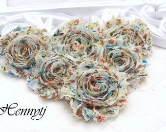 Set of 6 Shabby Frayed Vintage look Chiffon Rosette Flowers - Cream Patterned