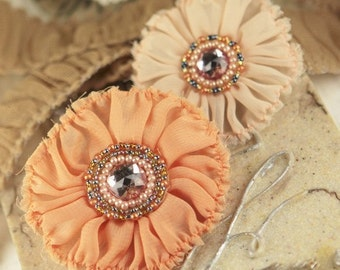 Prima Flowers The Regent Collections: Cavendish - Peach Ruffled Sheer Fabric Flowers