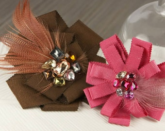 Gemini - Borgia Chocolate brown and hot pink Fabric flowers with feathers and rhinestones